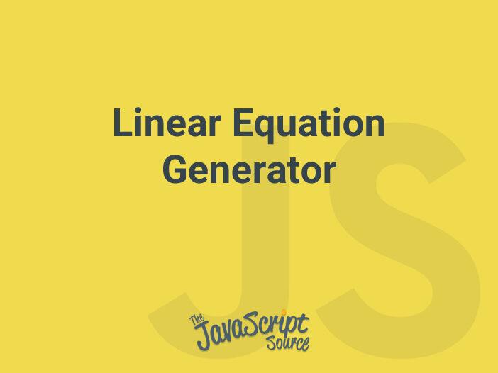 Linear Equation Generator