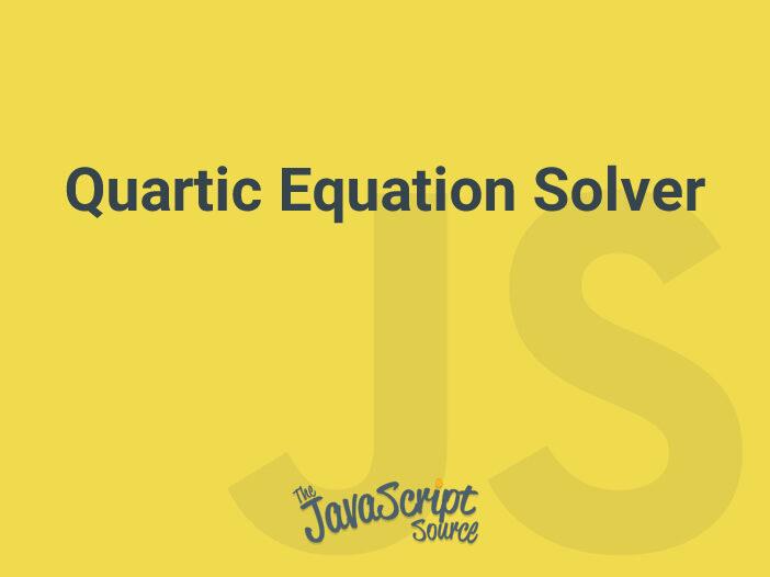 Quartic Equation Solver