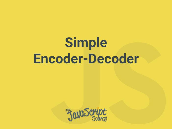 Simple Encoder-Decoder